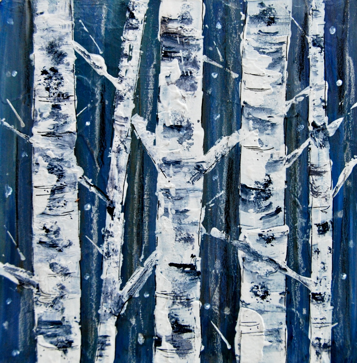 acrylic paint, birch tree