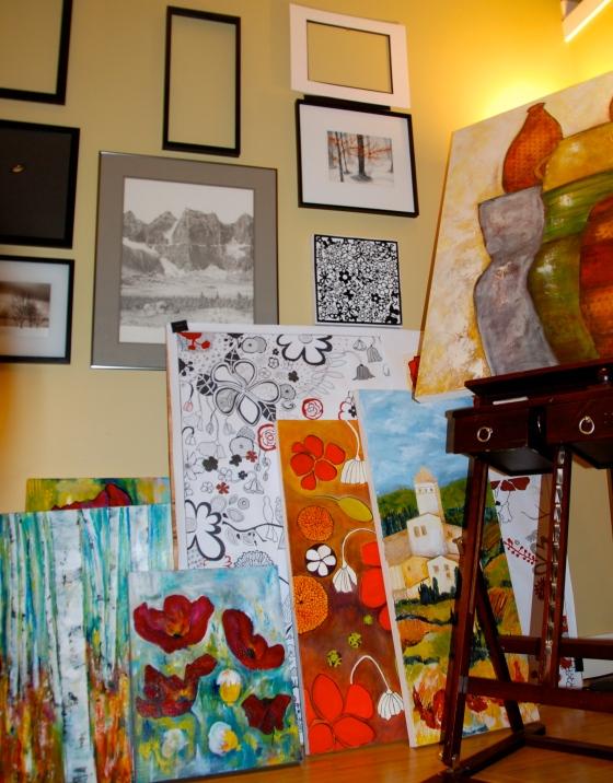 art studio, unfinished canvas, mental clutter
