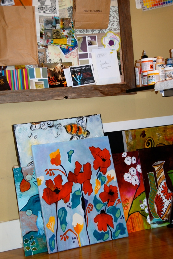 art studio, unfinished canvas