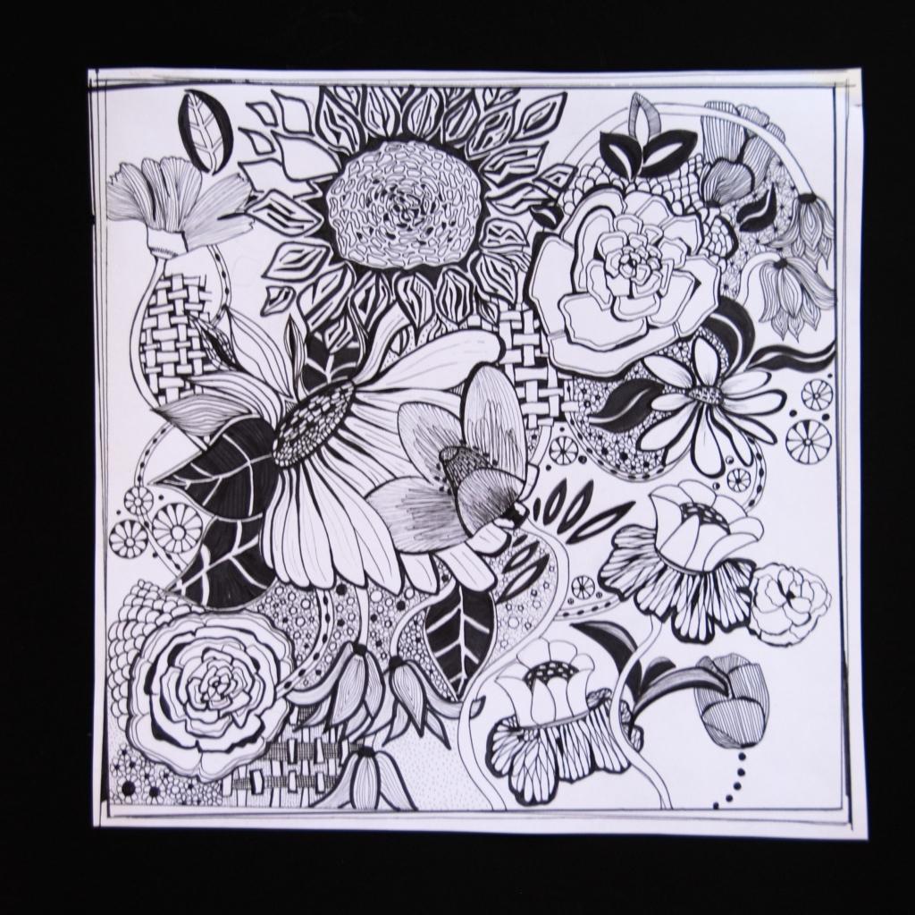 doodle,art,big flowers, pen and ink,