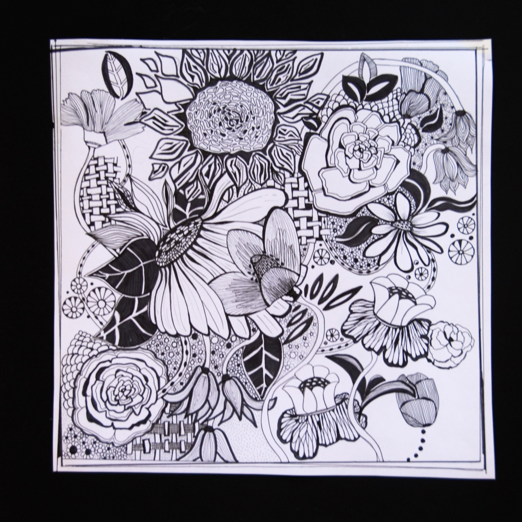 doodle,art,big flowers, pen and ink,