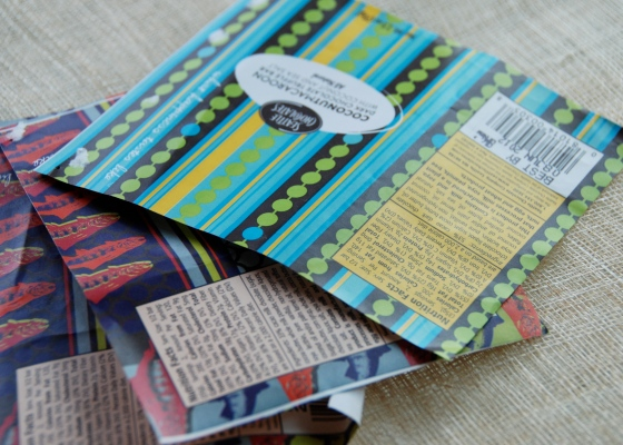 chocolate bar wrappers, mix media