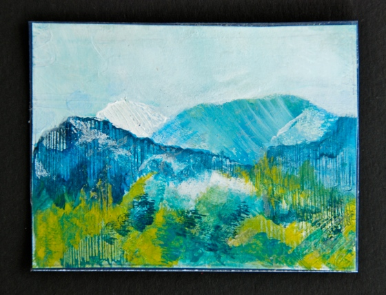 mountain, acrylic painting, artist trading cards, atc's