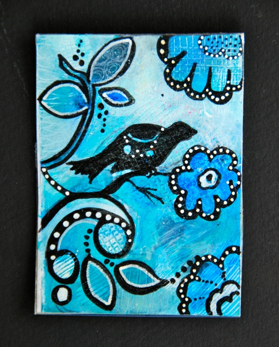 acrylic painting, artist trading cards, atc's