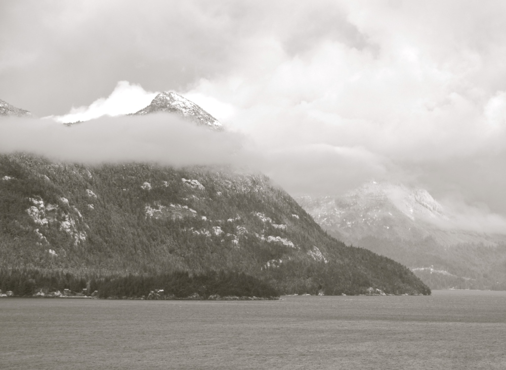 sea to sky highway, whistler, winter, black and white