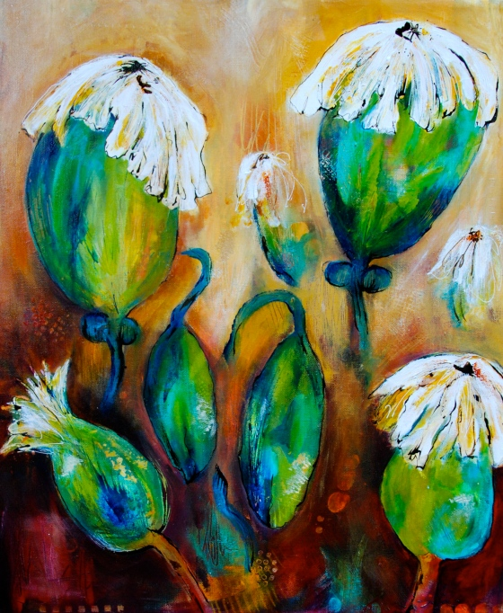 flora bowley, Bloom true, ecourse,acrylic, intuitive painting