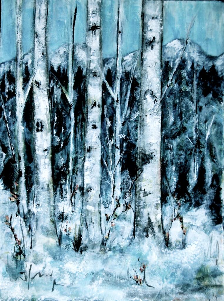 winter birch, acrylic, painting, mountains