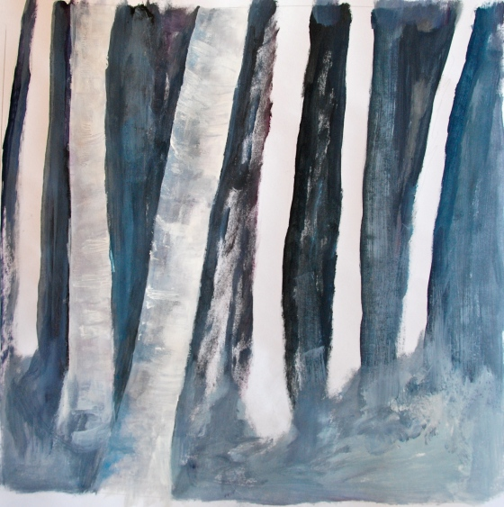 Creative Everyday, birch, acrylic painting, trees,aspen,snow
