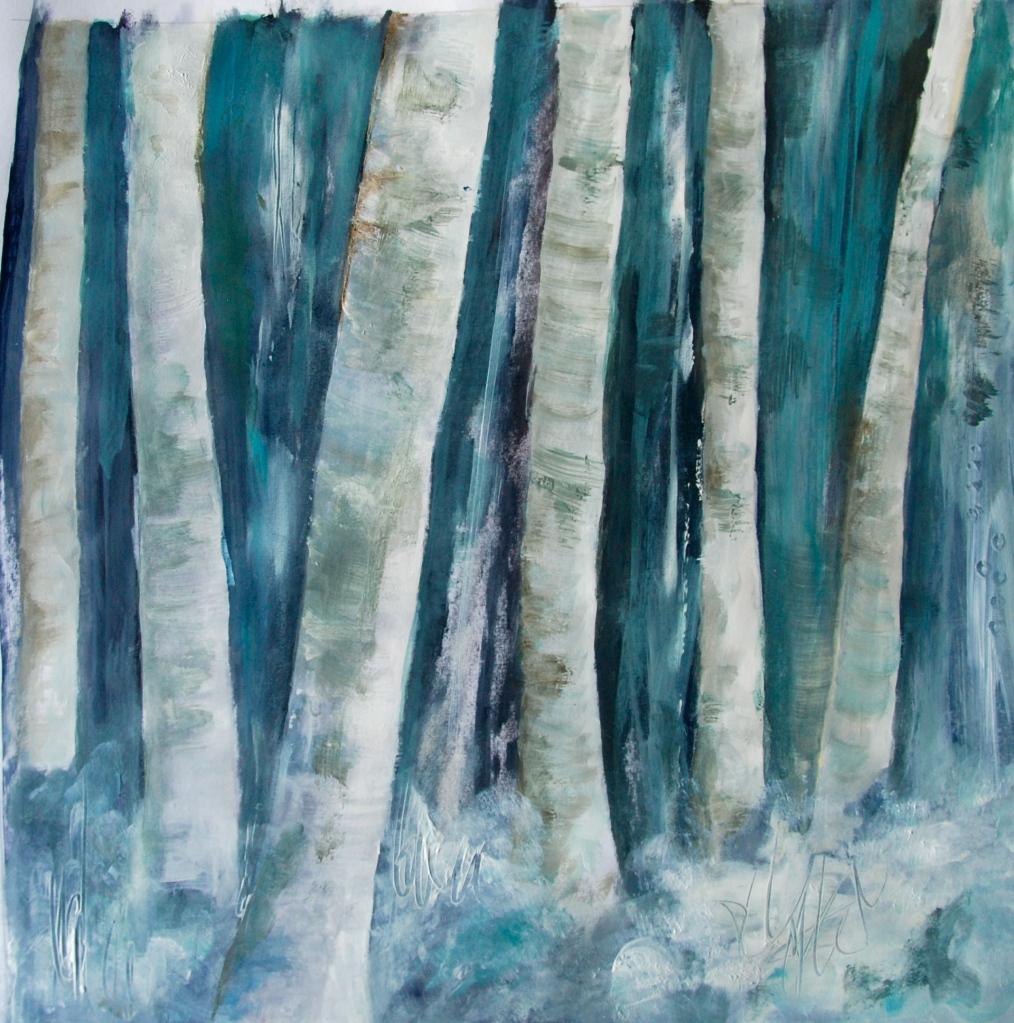 reative Everyday, birch, acrylic painting, trees,aspen,snow