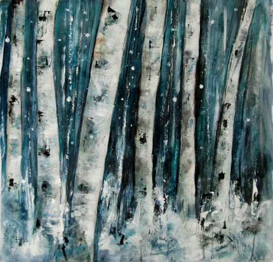 reative Everyday, birch, acrylic painting, trees,aspen,snow
