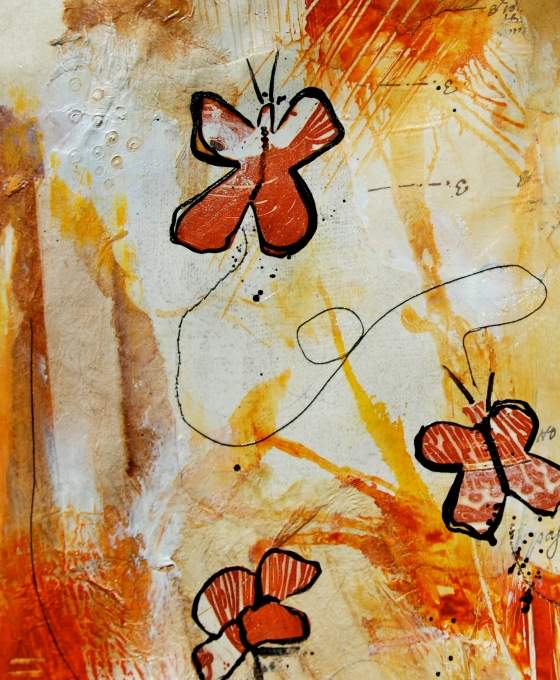 collage, art, journal, butterfly