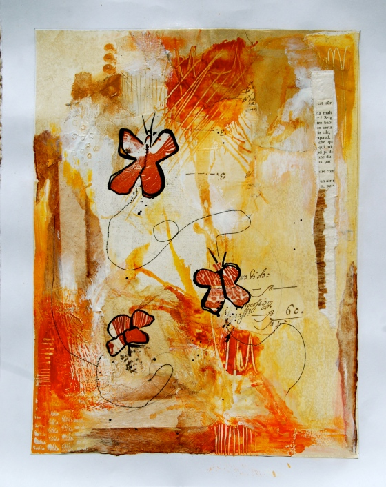 collage, art, journal, butterfly,paper