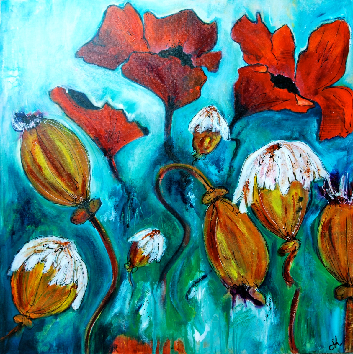 acrylic paint, intuitive painting, flora bowley, art,