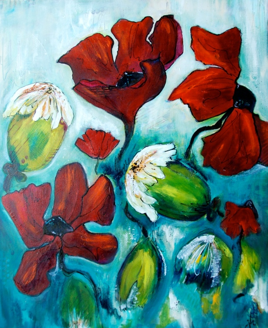 acrylic paint, intuitive painting, flora bowley, art,poppies