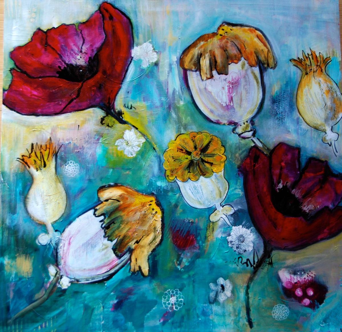 acrylic paint, flora bowley, art,poppies