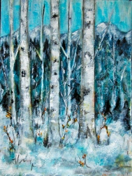 birch tree, mountains, snow, acrylic paint, blue,