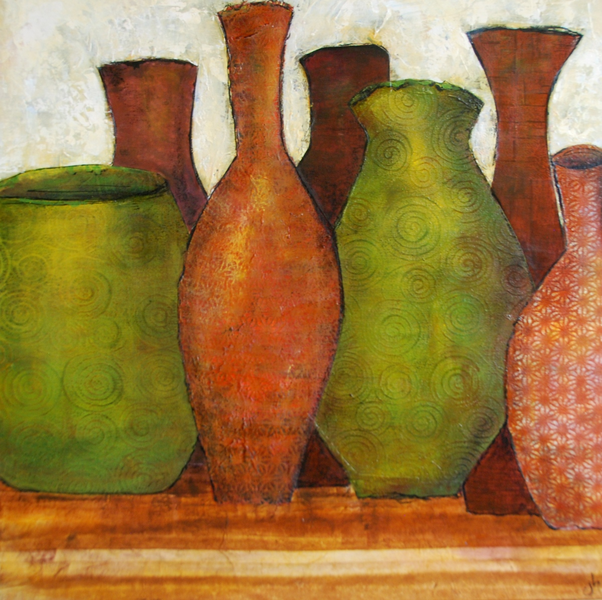 mix media, canvas, art, paint, paper collage, vases, jars,earth toned