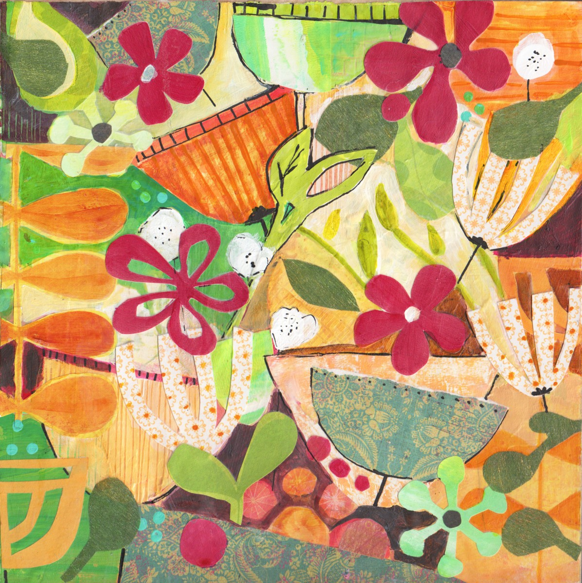 Tangled Weave (mixed media collage) - Julie Hamilton Designs {artistically afflicted blog}