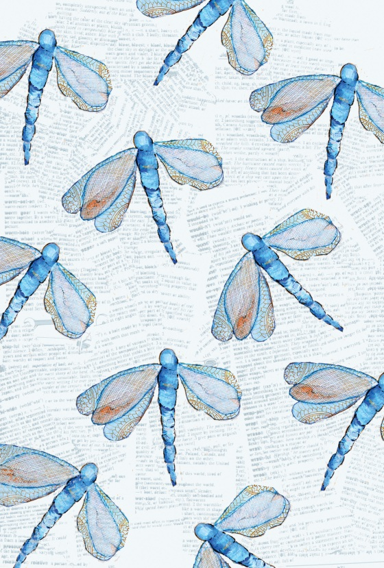Photoshop, surface pattern design, dragonfly, artwork