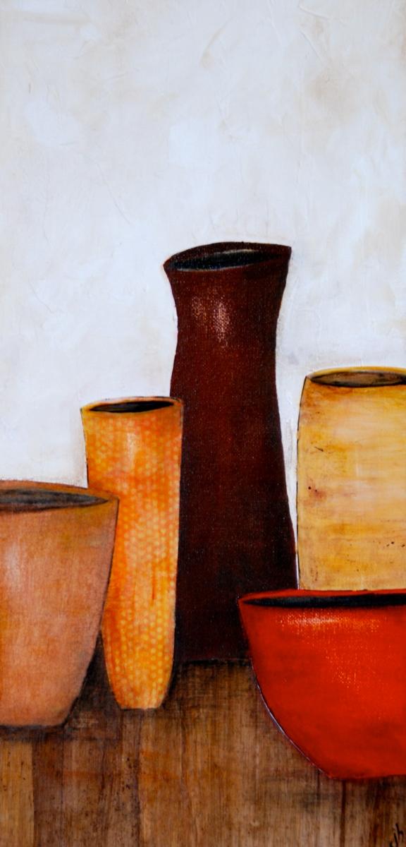 mix media, acrylic paint, art, pottery jugs, vase
