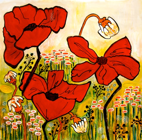 acrylic painting, poppy and pods, art