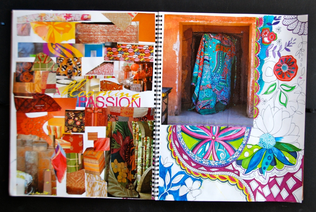 Color collage, magazine clippings,The art and business of surface pattern design
