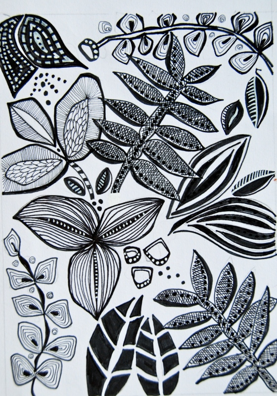 leaf motiv, ink sketch,The art and business of surface pattern design
