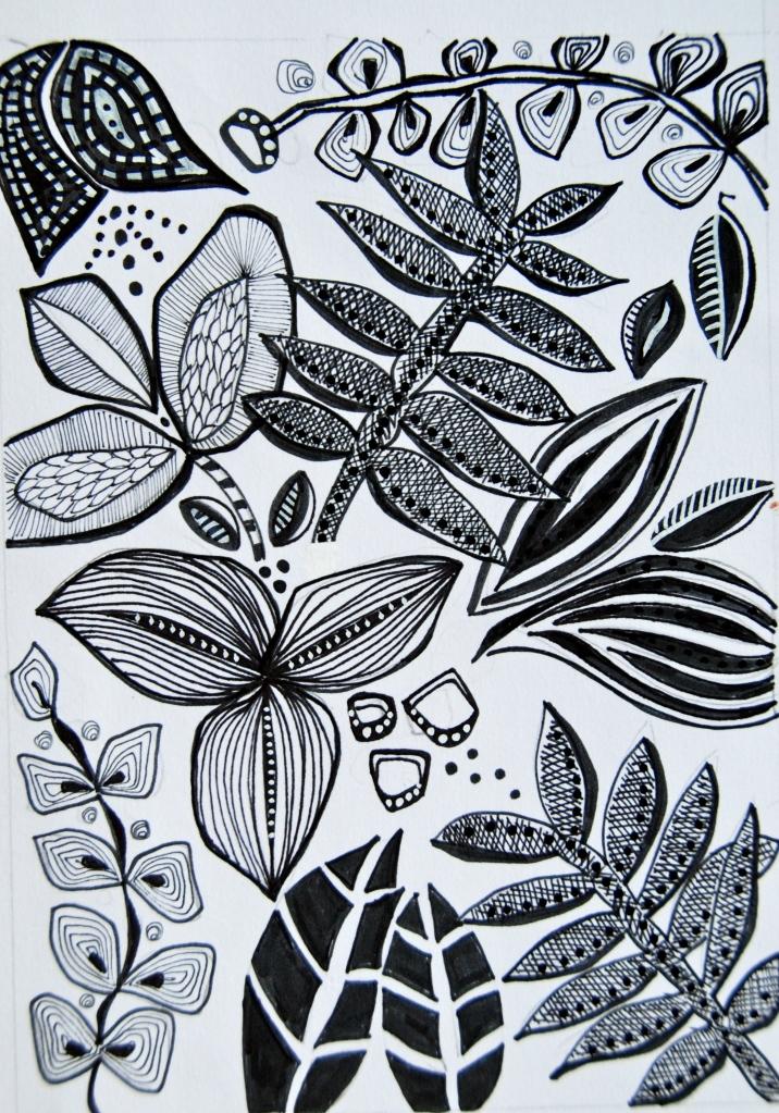 leaf motiv, ink sketch,The art and business of surface pattern design