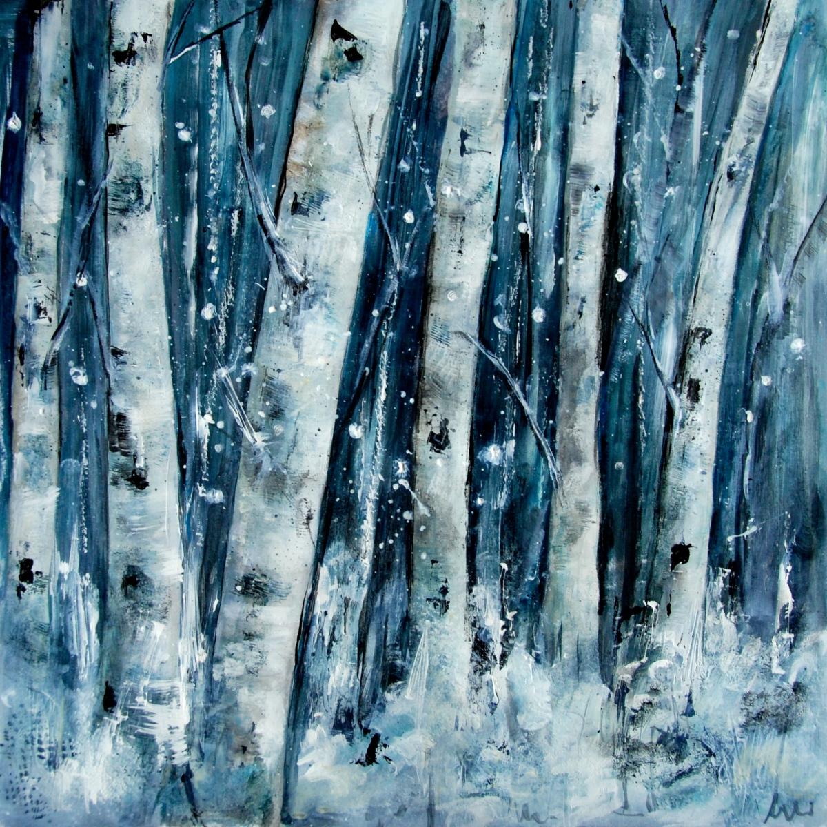 birch tree, snow, winter, acrylic paint, paper ,art