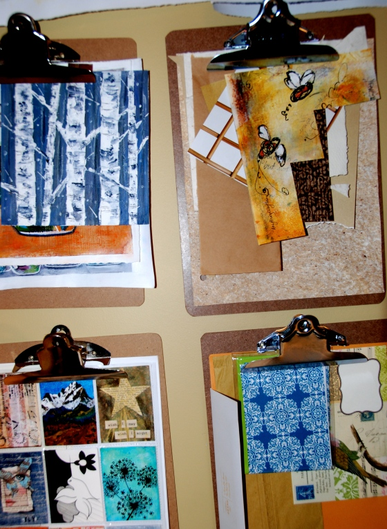 art studio, painting, mixed media, inspiration board