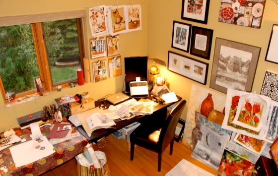 art studio, painting, mixed media