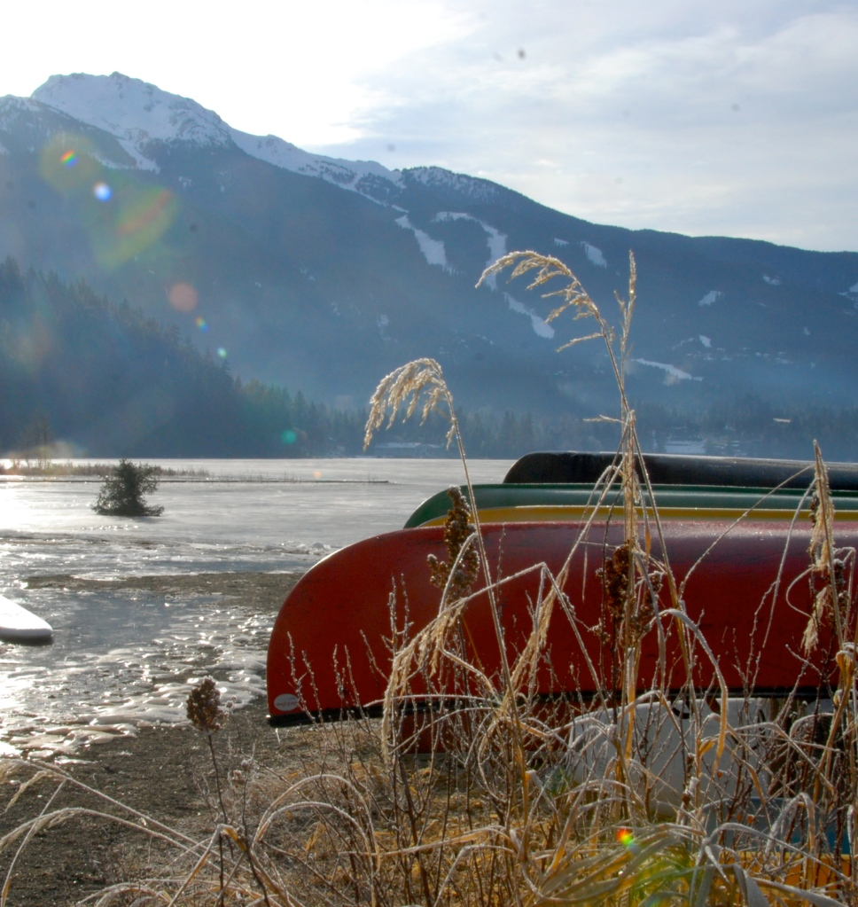 photography, whistler, nature, red canoe