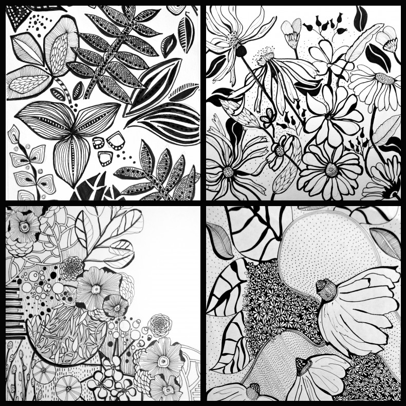 cool designs to draw with sharpie flowers. doodle black and white illustration flowerssharpie cool designs to draw with sharpie flowers