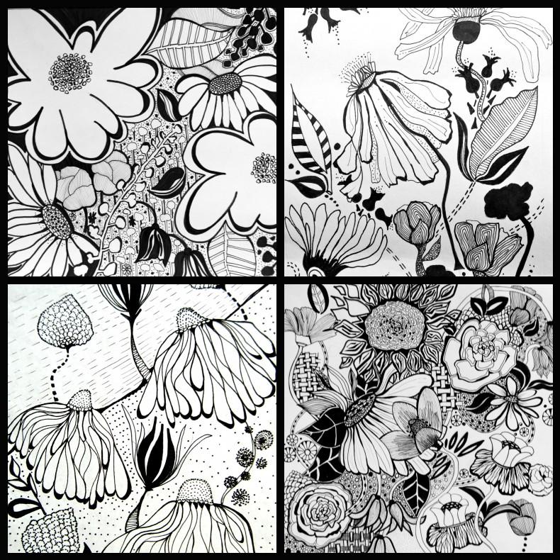 doodle, black and white, illustration, flowers,sharpie