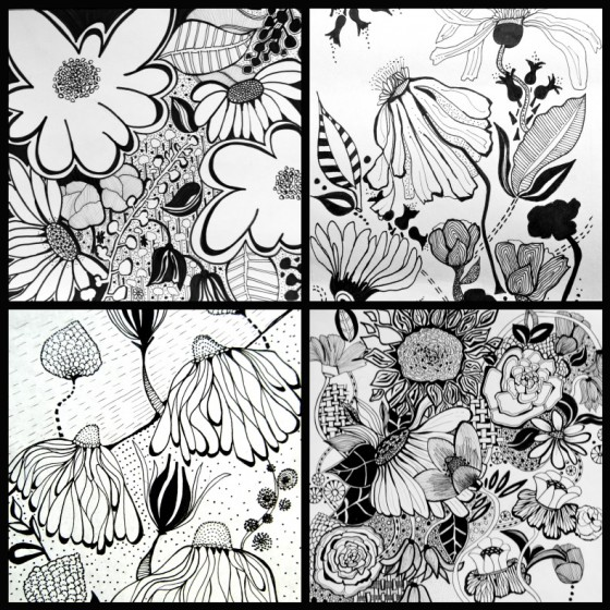 doodle, black and white, illustration, flowers,sharpie