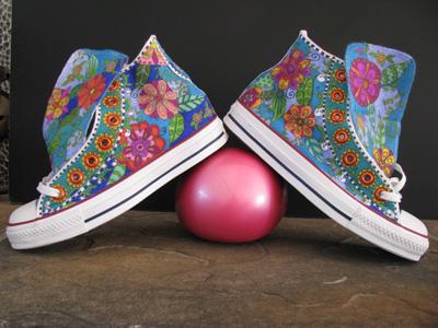 converse shoes, painted, sharpie