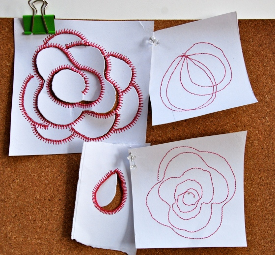 louise gale color challenge, surface pattern design,roses, red, sketching, sewing