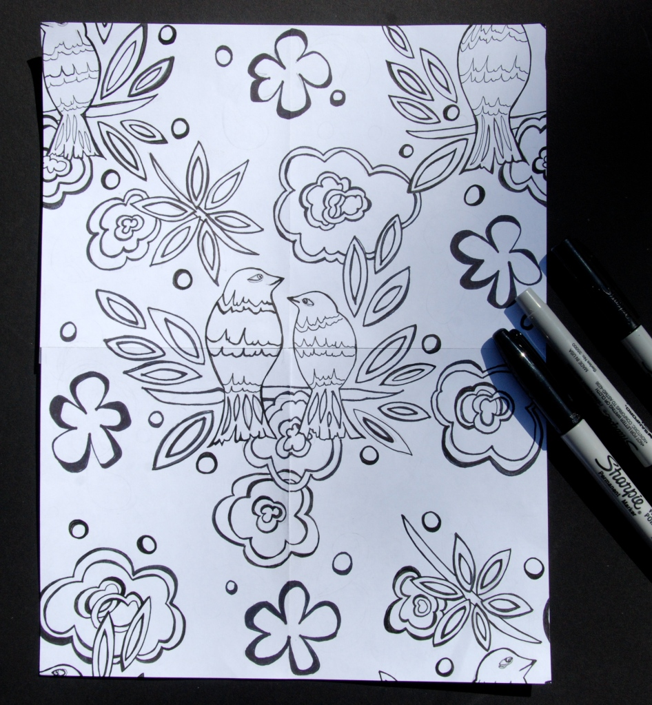 repeat pattern, hand drawn, sharpie markers