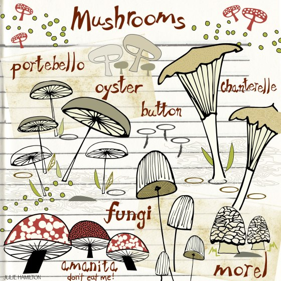 mushrooms in the sketchbook - julie hamilton designs {artistically afflicted blog}
