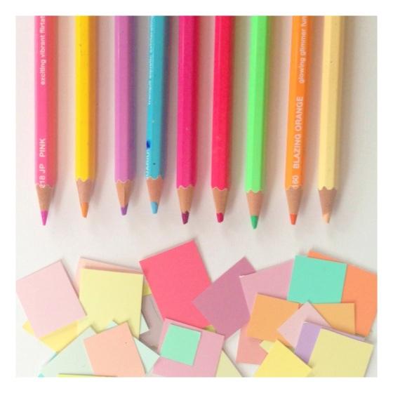 colored pencils. pastels, photograph