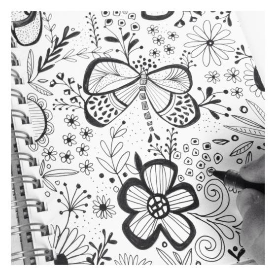 sketch, sketchbook, floral, artjournal,doodle